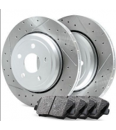 BMW X6 Front Premier Slotted Brake Disc Rotors & Ceramic Bra